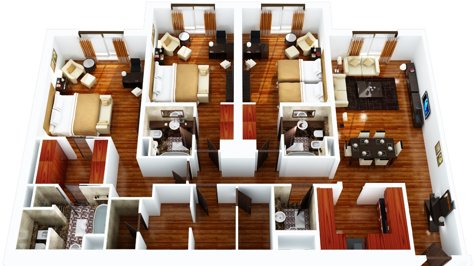 Grosvenor house dubai 2 bedroom residence apartments for Three bed